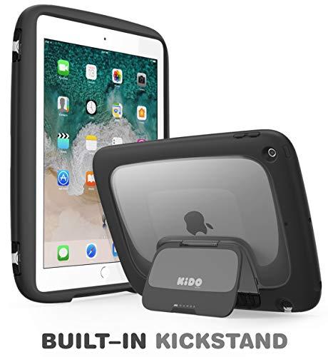mumba iPad 9.7 2018/2017 Hülle für Kinder, iPad 9.7 Zoll Schutzhülle für Apple iPad 5./6. Generation Kido Serie mit Ständer und Schultergurt (schwarz)