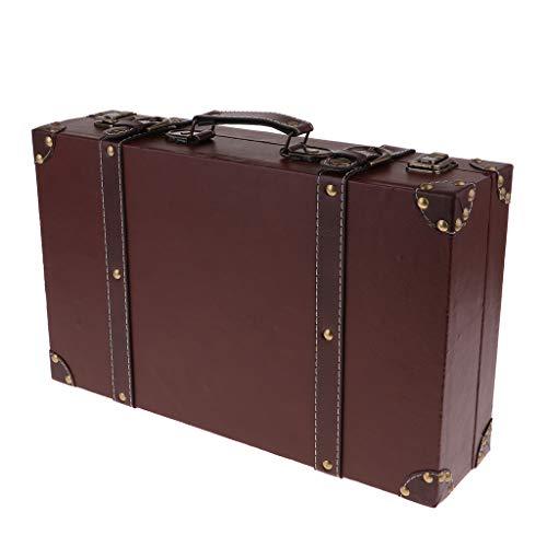 prasku Exhibición de La Ventana de La Caja de Almacenamiento de La Ropa de La Maleta del Viaje del Equipaje de Madera del Vintage - 40x25x10cm marrón