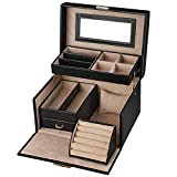 SONGMICS Jewelry Box, Girls Jewelry Organizer, Lockable Mirrored Storage Case, Gift Idea, Black UJBC114