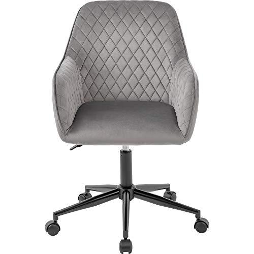 zcyg Silla de trabajo, silla de oficina, silla de escritorio de terciopelo con brazos, cojín de lujo para silla giratoria de oficina en casa (gris)