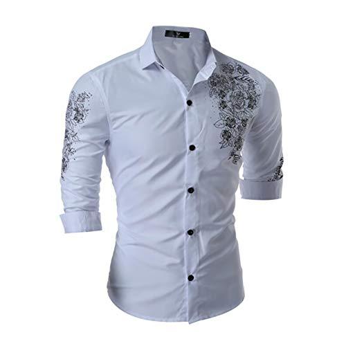 New Social Men's Shirt Slim Fashion Print Business Casual British Style Temperament Long-Sleeved Dress Shirt Man (Color : White, Size : XL)