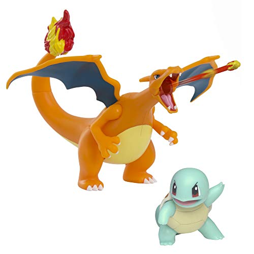 Pokemon Fire and Water Battle Pack - includes 4.5 Inch Flame Action Charizard and 2' Squirtle Action figures
