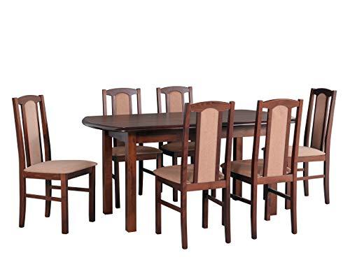 Mirjan24 Esstisch mit 6 Stühlen DM05, Esstisch Stuhlset, Tischgruppe, Esstischgruppe, Sitzgruppe, Esszimmergarnitur, Esszimmer Set, DMXZ (Nuss/Nuss Etna 24)