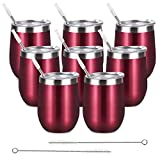 8 Pack 12 Oz Stainless Steel Stemless Wine Tumbler with Lid and Straw, Double Wall Vacuum Insulated Wine Glass for Wine, Coffee, Cocktails, Champagne, Ice Cream, Outdoor, Picnic, Set of 8, Wine Red