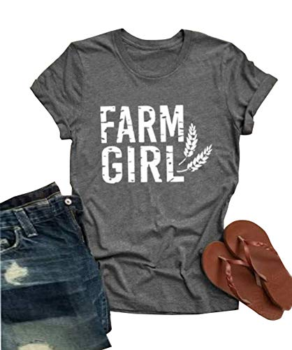 Farm Girl Print Women T-Shirt Wheat Graphic Short Sleeve O-Neck Tee Tops Size S (Grey)