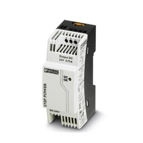 Phoenix Contact 2868635 Power Supply; AC-DC; 24V@0.75A; 85-264V In; Enclosed; DIN Rail Mount; STEP Series