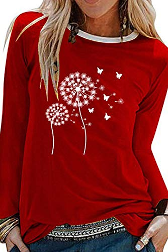 Neues Damen-LöWenzahnmuster Im Herbststil Mit Lockerem Langarm-T-Shirt Mit Rundhalsausschnitt