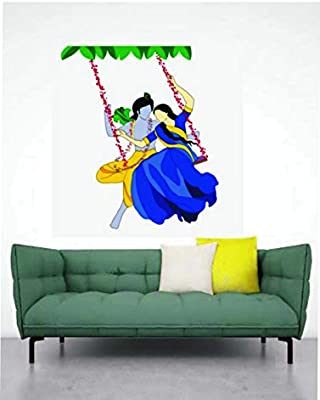 MADHUBAN DECOR Madhuaban Décor Beautiful Radha Krishna with Jhula Wall Sticker for Living Room Home and God's Room(59x72cm)