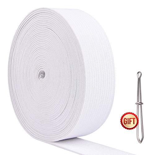 KUUQA 6 Mters/6.56 Yards Elastische Bänder zum Nähen Spule Nähbänder DIY Nähhandwerk Zubehör,25mm Breit (Weiß)