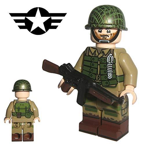 Custom Brick Design - WW2 Serie - US Army Soldat V.1 Figur - modifizierte Minifigur des bekannten Klemmbausteinherstellers und somit voll kompatibel zu Lego