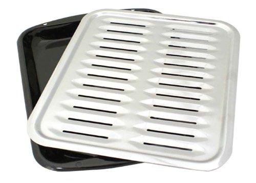 Range Kleen BP100 Porcelain Broiler Pan with Chrome Grill, 2-piece