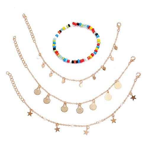 BCDZZ 4 unids/set colorido hecho a mano con cuentas estrella Shell amor imitación perla geométrica borla tobillera pulsera verano playa joyería regalo