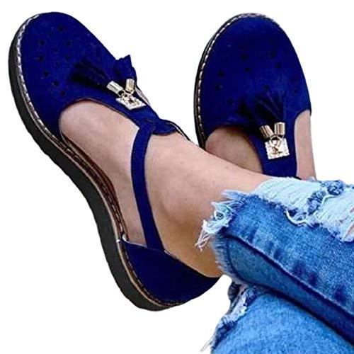 BBOOY Sandalias Planas para Mujer, Sandalias con Flecos de Gamuza con Punta Cerrada y Punta Redonda a la Moda, Sandalias de Viaje de Playa de Boca Baja de Color Puro y Transpirable,Azul,40