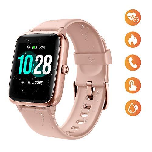 Fitness Watch for Women, wasserdichter Smartwatch Farbdisplay Fitness Tracker mit Herzfrequenz Schlafschrittzähler Anruf SMS SNS Aktivitäts Tracker für Android iOS (Pink)