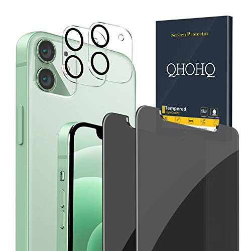 """QHOHQ 2 Pack Privacy Screen Protector for iPhone 12 5G [6.1""""] with 2 Packs Tempered Glass Camera Lens Protector,Anti-Spy Tempered Glass Film,9H Hardness - 2.5D Edge - Scratch Resistant - Case Friendly"""