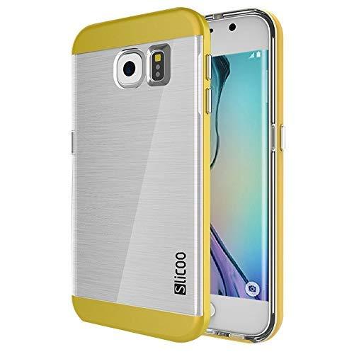 Slicoo (#52) per Compatibile con: Galaxy S6 Edge / G925 Brushed Struttura Galvanik Elektrolyt - Cu Trasparente Combinazione Custodia (Giallo)