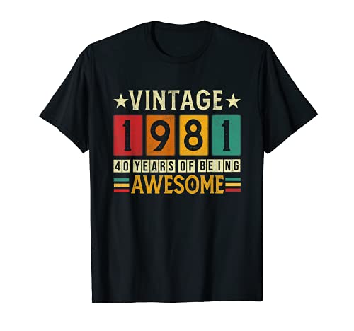 Regalo de 40 cumpleaños para hombres y mujeres 1981 Retro 40 años de edad Camiseta