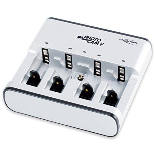 ANSMANN PhotoCam V Tischladegerät für 1-4 NiMH oder NiCd Akkus / Akkuladegerät für Micro AAA  Mignon AA  Baby C  Mono D & 9V E-Block / Mit Ladeanzeige  Einzelschachtüberwachung & Überladeschutz
