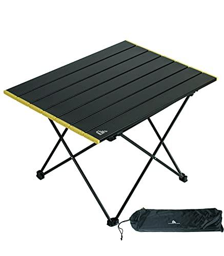 iClimb アウトドアテーブル ミニローテーブル キャンプ テーブル 折畳テーブルアルミ製 耐荷重30kg 超軽量 コンパクトソロキャンプ BBQ 登山 ツーリング 収納袋付き (黒‐L)