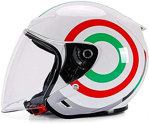 QHHALXZ Casco de cara abierta, estilo vintage, con visera solar 3/4 para adulto, retro, motocicleta, medio casco certificado DOT para hombres, mujeres, scooter ligero, casco de calle ATV