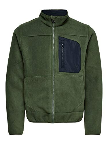 ONLY & SONS Male Fleecejacke Kontrastdetail XSDeep Depths