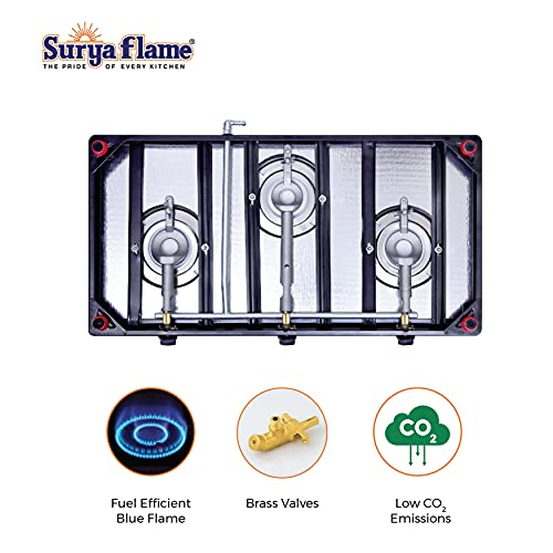 Suryaflame Glass Top 3 Burner Gas Stove 3B SMART MS NA (ISI MARKED CE MARKED) with Doorstep Service