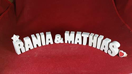 Beton, Steinguss Buchstaben 3D Deko Namen RANIA & MATHIAS mit Stern und Herzklammer als Geschenk verpackt! Ein ausgefallenes Geschenk zum Geburtstag, Verlobung, Hochzeit oder auch zu anderen Anlässen.