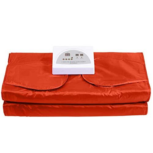 Far-Infrared Sauna Blanket Upgraded 2 Zone Waterproof Oxford Detoxification Blanket, Used for Relieve Pain/Weight Loss/Detoxification,Orange