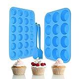 Silicone Muffin Pan Set – Regular 12 Cups and Mini 24 Cups Muffin Cupcake Baking Pan,Muffin Tin...