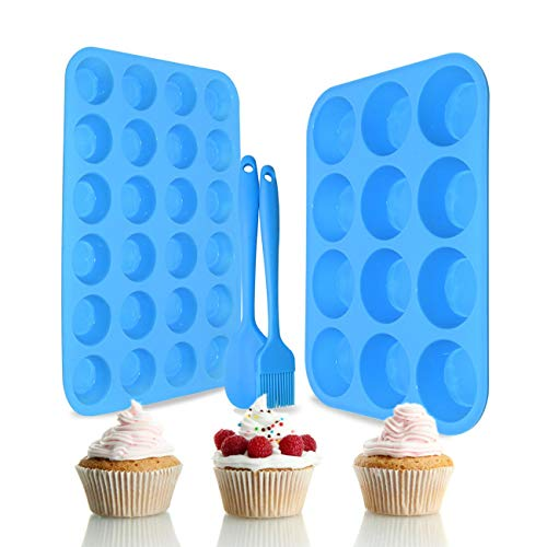 Silicone Muffin Pan Set – Regular 12 Cups and Mini 24 Cups Muffin Pan,Silicone Baking Molds for Muffins, Cupcakes,Food Grade Silicone Cupcake Pan with 1 Silicone Spatula & 1 Oil Brush (blue)
