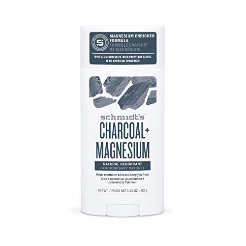Schmidt's Natural Deodorant for Men and Women, 24 Hour Odor Protection and Freshness Charcoal + Magnesium Aluminum Salt Free, Vegan, Certified Cruelty Free, 3.25 oz