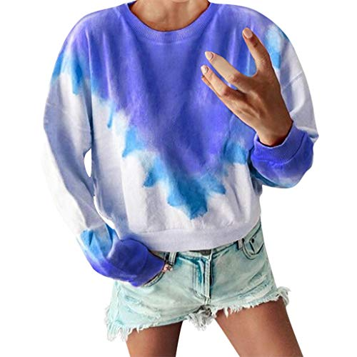 Best Review Of YKARITIANNA Women's Fashion Tie Dye Long Sleeve Sweatshirt Casual Long Plus Size Crew...
