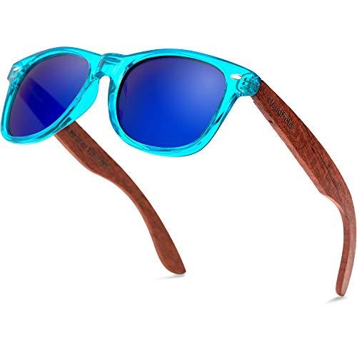 Blue Lens Wood Sunglasses Polarized for Men and Women - Bamboo Wooden Sunglasses Sunnies - Fishing Driving Golf Trendy - Blue Lenses