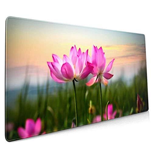 Alfombrilla de raton larga (35.5 x 15.8\) Hermosa flor de loto blooming Sunset almohadilla de escritorio, base antideslizante, resistente al agua, para trabajo y juegos, oficina y
