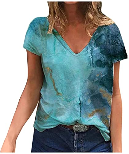 Womens Tie Dye Short Sleeve T Shirt Funny Butterfly Graphic V Neck Tees Casual Loose Summer Blouse Tops