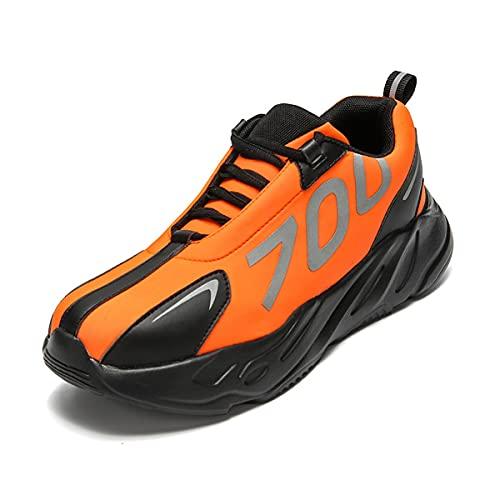 Aingrirn Sicherheitsschuhe Herren Bequee Arbeitsschuhe Leicht Sportlich Schutzschuhe Stahlkappe Wasserdicht Sneaker (Color : Orange, Size : 42 EU)