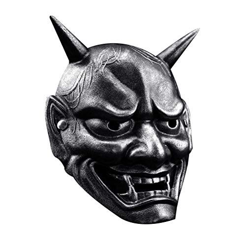 KESYOO Disfraces de Halloween Máscara Hannya japonesa Omen Máscara malvada Miedo Espeluznante Horrible Fantasma Máscara facial Disfraz Prop para fiesta de maquillaje de disfraces Plata antigua