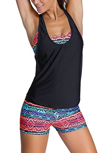 Sidefeel Women Tribal Printed Tankini with Boyshort Swimsuit Set Medium Multicolor
