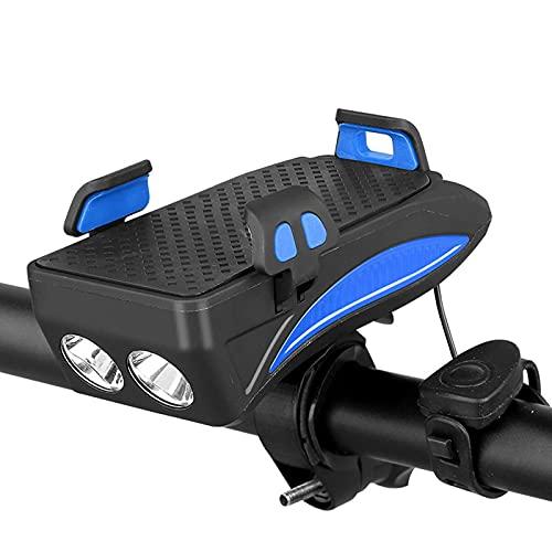 Luces de Bicicleta, 4 en 1 Luz de Bicicleta USB Impermeable Recargable con Soporte telefónico, Bicicleta Bell y Potencia móvil para Hombres Mujeres Niños Carretera Ciclismo,Azul