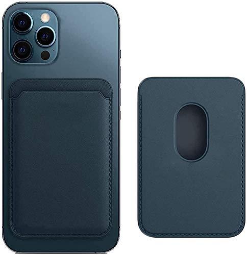 ZQQFR MagSafe - Funda de piel para Apple iPhone 12/Pro/Mini/Max (cierre magnético, ranura para tarjetas, con RFID, 2 tarjeteros), color azul