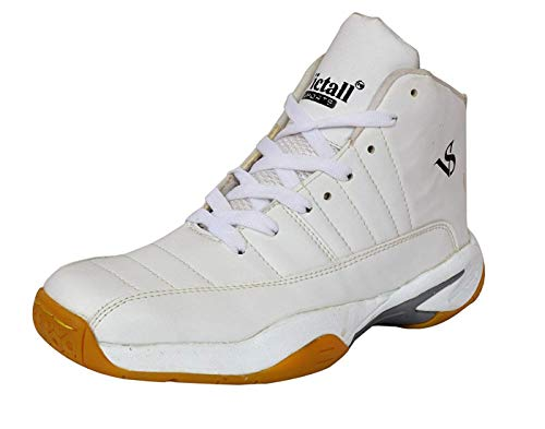 VICTALL White Basketball Shoes for Men Boys Women Girls Junior PU Material Non Marking Sole Outdoor Indoor Playing - Best in Running Walking Sports Jogging (11 IND/UK)