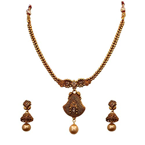 JewelryGift Elegante juego de collar tnico con pendientes Jhumki chapados en oro de 18 quilates, joyera de moda para nias y mujeres
