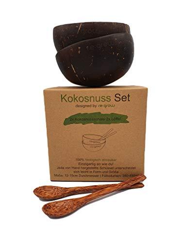 Regrow Kokosnuss Schalen Set (2 Schüssel + 2 Löffel) | 100% Naturprodukt - Plastikfreie Alternative | Handgefertigt - Einzigartig so wie Du!