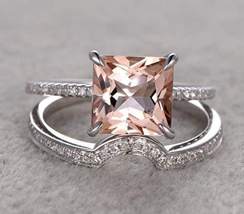 1.50 Carat Peach NEW before selling Pink Morganite Max 47% OFF princess Diamond cut