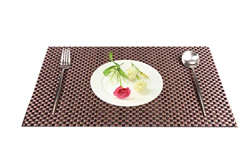 Platzset 4er Set PVC Tischset Verdickung, Abwaschbar Esstisch Unterlage Rutschfestes Platzmatten Hitzebeständig Platzdeckchen für Küche Speisetisch, Kupfer 45x30cm