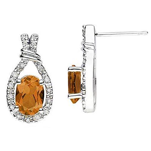 SLV Pendientes de tuerca chapados en oro blanco de 14 quilates de plata 925 con diamantes ovalados y de corte redondo de 0,89 quilates