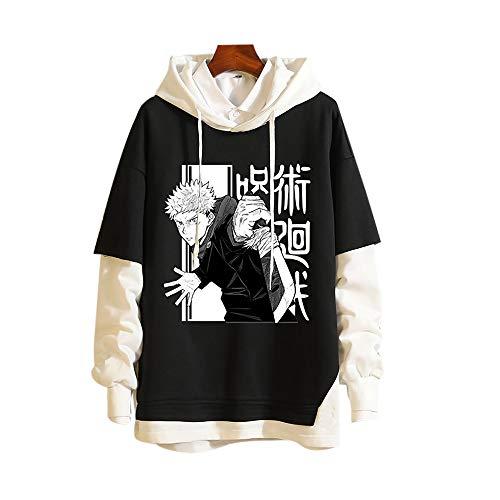 Zhengyun Anime Jujutsu Kaisen Pullover Felpa con Cappuccio Yuji Itadori Cosplay Felpa Manica Lunga con Cappuccio Costume Giacca Maglione Cappotto Satoru Gojo Outwear Sportswear per Donne Uomini