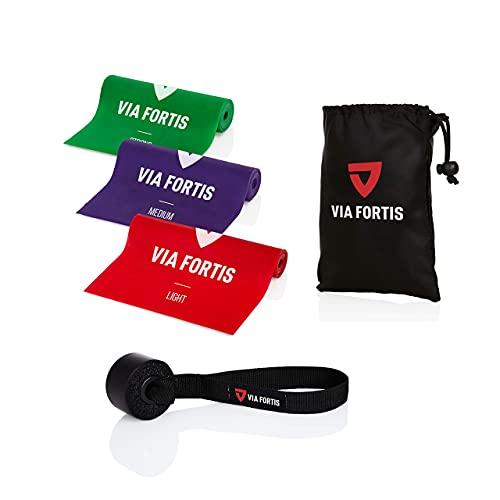 Elastici fitness (Set di 3) di VIA FORTIS | Fasce Elastiche/Elastici da Allenamento per Fitness, Pilates, Yoga, Ginnastica | 3 Livelli di Resistenza | in Omaggio Door Anchor e Borsa da Trasporto