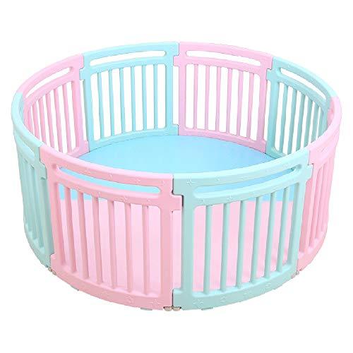 Parc de jeu rond pour bébé Safety Plastic 8 Panel Activity Center Playard - pour les enfants de 10 mois à 6 ans à la maison à l'intérieur (Ø 150cm)