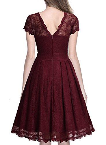 Miusol Damen Elegant Spitzenkleid Cocktailkleid Knielanges Vintage 50er Jahr Abendkleid Weinrot - 2